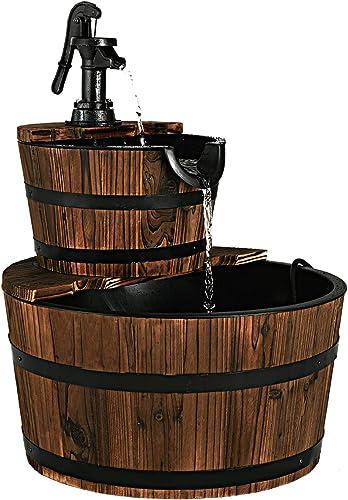 wholesale Giantex 2-Tier Barrel Waterfall Fountain with Hand Pump, Rustic Wood Barrel Cascading Water Fountain for Outdoor popular Garden Patio Backyard online sale Porch online sale