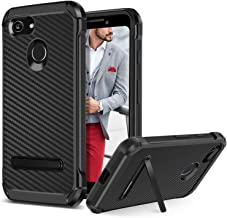 BENTOBEN Google Pixel 3 Case, Kickstand Design Slim 2 in 1 Heavy Duty Shockproof Hybrid Soft TPU Bumper Hard PC Cover with Carbon Fiber Texture Protective Case for Google Pixel 3, Black