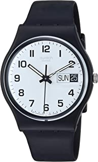 Swatch - GB743 - Classic - Montre Homme - Quartz Analogique - Cadran Blanc - Bracelet Plastique Noir