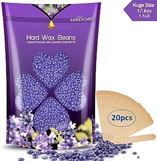 Hard Wax Beans(17.6oz/1.1Ib) - Anreacho Hair Removal Nose Wax Full Body Wax Beans, Brazilian Wax Beans Lavender Hard Wax with 10 spatulas for Face, Bikini, Legs, Underarm, Back, Chest