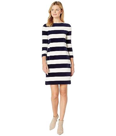 LAUREN Ralph Lauren Striped Boat Neck Dress (Navy/Mascarpone Cream Multi) Women