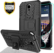 YmhxcY LG Stylo 3 Phone Case,LG Stylo 3 Plus Case,LG Stylus 3 Case with HD Screen Protector,Military Armor Drop Tested [Heavy Duty] Hybrid Case with Kickstand for LG LS777-LT Black