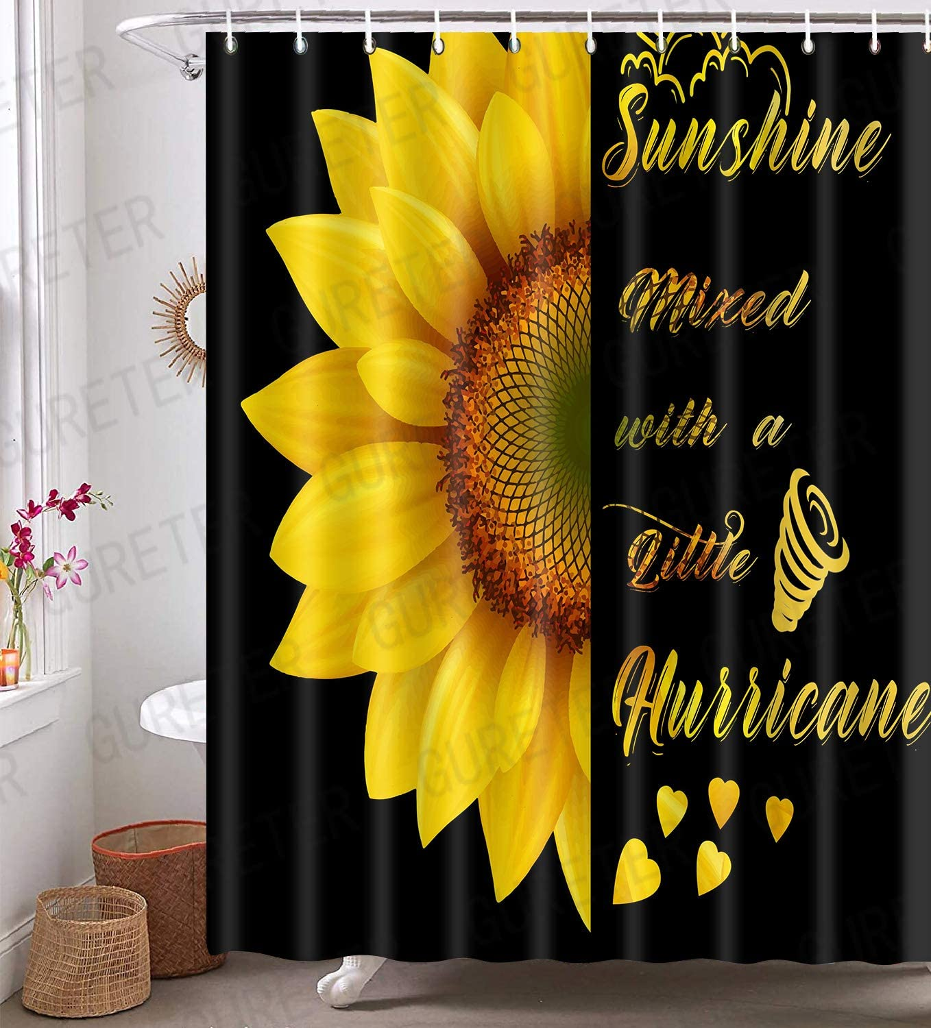 Sunflower Inspirational Quotes Shower Curtain, Rustic Floral Black Bathroom Decor, 72x72 Inch Water-Proof Polyester Bath Curtain, 12 Plastic Hooks Included YLZYGE104