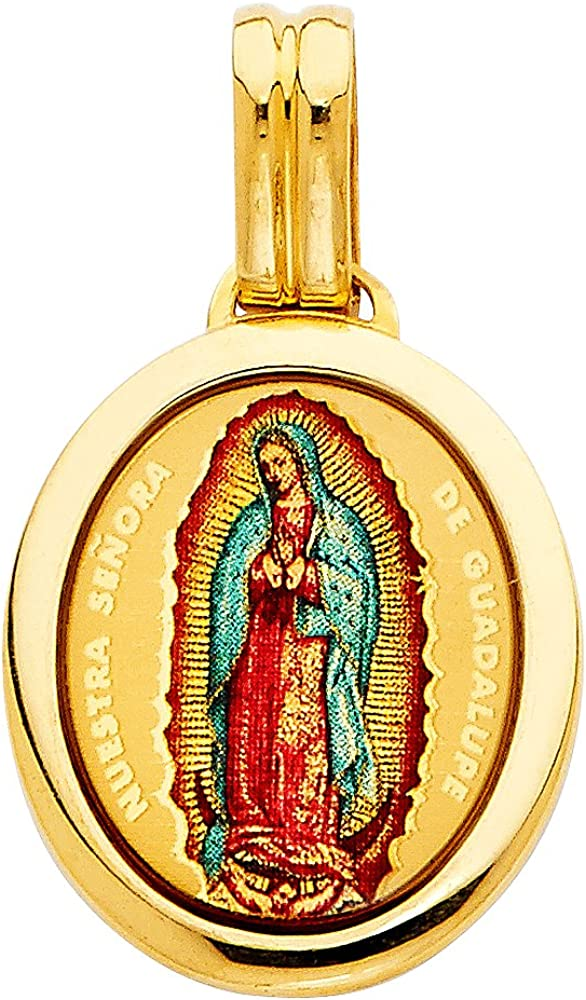Jewels By Lux 14K Yellow Gold Virgin Mary Under blast sales Lady Guadalupe Outlet SALE Our Of