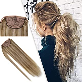 RUNATURE Hair Extensions Real Human Hair Ponytail 18 Inches Middle Blonde Highlighted with Golden Blond 100g Per Set Brazilian Hair Extensions Human Hair Invisisble Ponytail One Piece