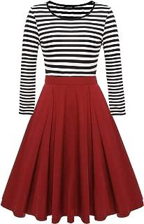 ACEVOG Women's Scoop Neck Skater Dresses 3/4 Long Sleeve Casual Slim Fit Stripe Mini Dress