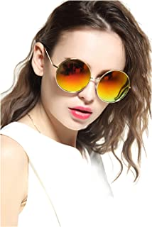 0f3d954259 GEELOOK Oversized Round Circle Mirrored Hippie Hipster Sunglasses - Metal  Frame