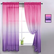 Pink and Purple Curtains for Girls Room Decor Set 2 Panels Rod Pocket Window Lace Sheer Ombre Gradient Girls Furnitures fo...