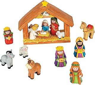 Fun Express Mini Christmas Nativity Set Stable with Jesus Mary Joseph Wisemen – 9..