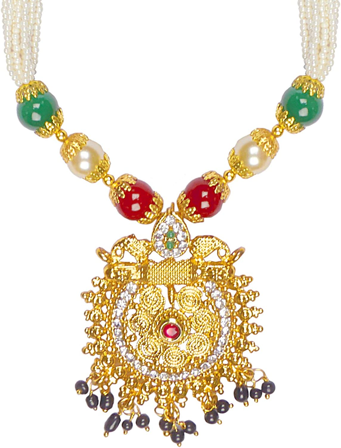 Bodha Traditional Indian Handcrafted 22K Gold Plated Designer Fancy Mangalsutra Thushi mala Necklace Pendant Set for Women (SJ_2818)