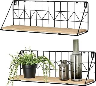 Mkono Wall Mounted Floating Shelves Set of 2 Rustic Metal Wire Storage Shelves Display Racks Home Decor, Large