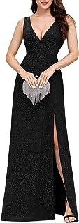 Ever-Pretty Vestiti da Sera di Cotone con Spacco Senza Maniche Scollo a V Sexy Donna Vestito da Cerimonia 07505