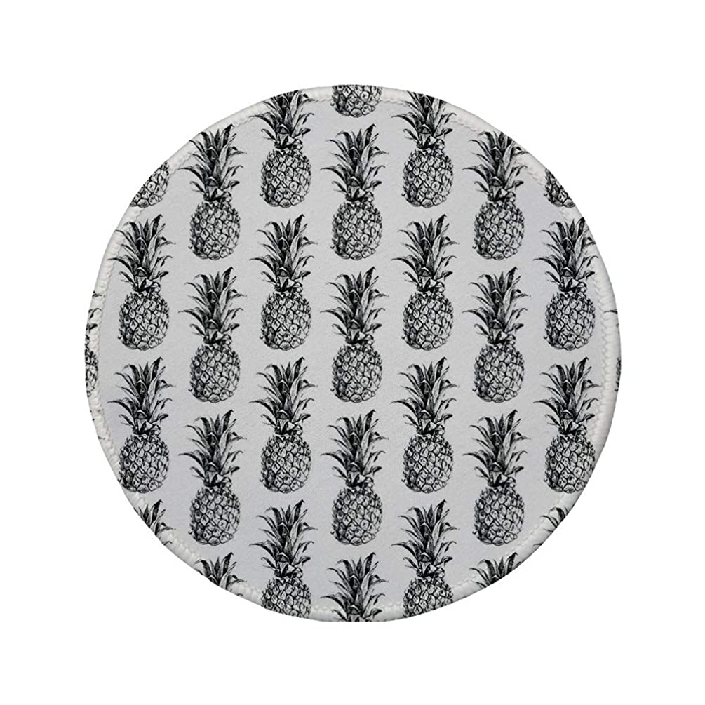 Non-Slip Rubber Round Mouse Pad,Pineapple,Artistic Hand Drawn Tropical Theme Vintage Style Pineapple Fruit Pattern,Black Gray White,7.87