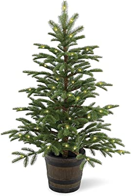 National Tree Company 'Feel Real' Pre-lit Artificial Tree For Entrances and Christmas   Includes Pre-Strung White Lights and a Whiskey Barrel Pot   Norwegian Spruce - 4 ft