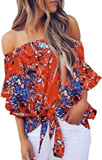 Womens Floral Off The Shoulder Tops 3 4 Flare Sleeve Tie Knot Blouses and Tops