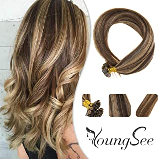 Youngsee 22inch Keratin Flat Tip Hair Extensions Dark Brown with Caramel Blonde 1g/s 50 Strands Pre Bonded Falt Tip Remy Human Hair Extensions
