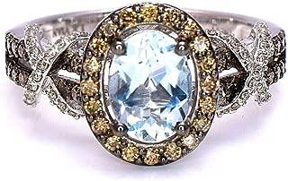 LeVian Blue Aquamarine Women Ring Chocolate and Vanilla Diamonds 14K White Gold