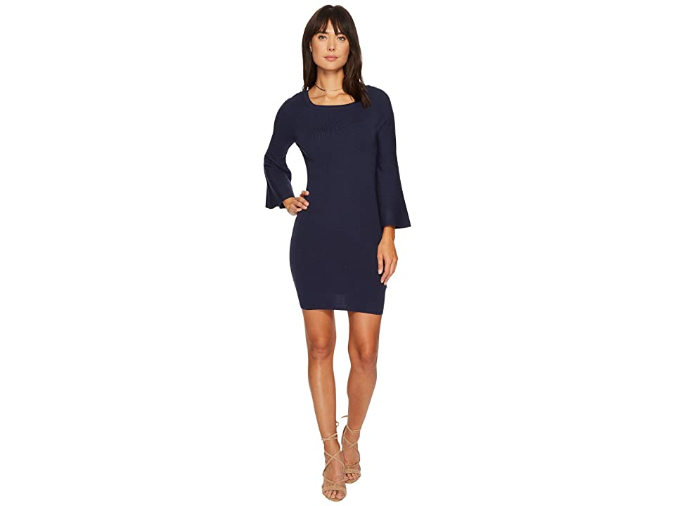 J.O.A. Bell Sleeve Fitted Knit Dress (Blue) Women