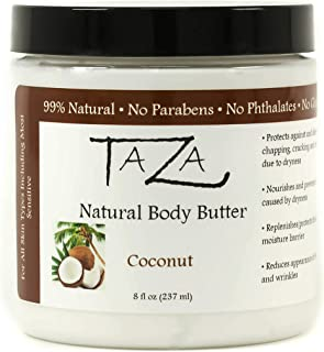 Premium Taza Natural Coconut Body Butter, 8 fl oz (237 ml) ♦ Gives You Intense Hydration For Glowing Skin ♦ Contains: Shea Butter, Coconut Oil, Grapeseed Oil, Sweet Almond Oil, Cocoa Butter