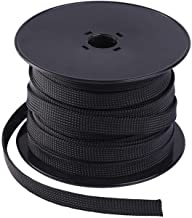Keco 50ft – 1/4 inch & 1/2 inch Flexo PET Expandable Braided Cable Sleeve – Wire Sleeving for Audio Video and Other Home D...
