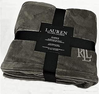 Ralph Lauren Classic Charcoal Gray Micromink Plush All Season Blanket   Full/Queen 90