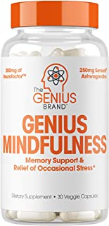 Genius Stress & Anxiety Relief Supplement w/ Ashwagandha, Nootropic Brain Booster & Memory Support w/ blueberry extract, N...