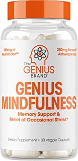 Genius Mindfulness - Stress & Anxiety Relief Supplement - Nootropic Brain Booster & Memory Support | Natural Focus, Energy & Serotonin, Calm Adrenal Fatigue w/Ashwagandha -30 Capsules/Pills…