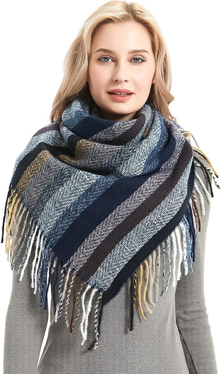 Tonwhar Women's Fashion Scarf Winter/Fall Warm Scarf Big Wrap Shawl Colorful Stripes Scarf