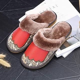 SHYPT Imprimir Zapatillas de algodón Caliente de Cuero Non-Slip Tendon Bottom Inicio Slippers for Zapatillas (Color : Red,...