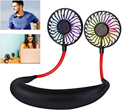 Leipple Neck Fan Portable- Neckband Fan USB Charging Hand Free - Personal Mini Sport Fan - Rechargeable with 3 Speeds Adjustable and LED Light for Sports Travel Outdoor Office Reading (Black)