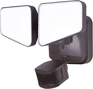GE Enbrighten 2-in-1 LED Outdoor Flood Security Light, Motion Sensor, 2480 Lumens, 2 Adjustable Heads, Selectable Color 2200K-5000K, Driveway, Patio, Front Yard, Garage, Bronze, 40768,