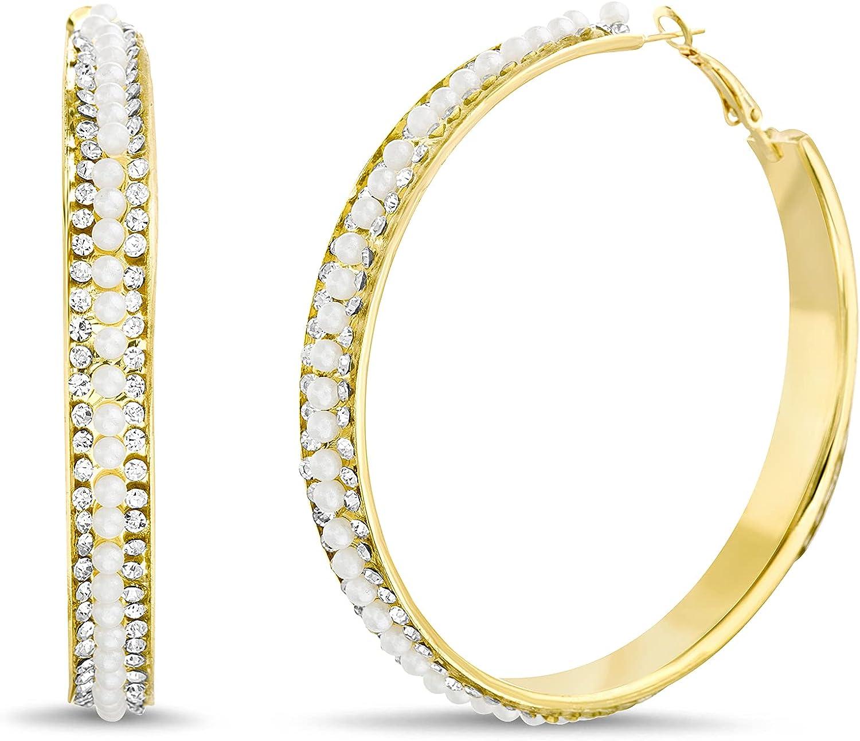 Badgley Mischka Yellow Rhinestone Simulated Pearl Hoop Earrings for Women
