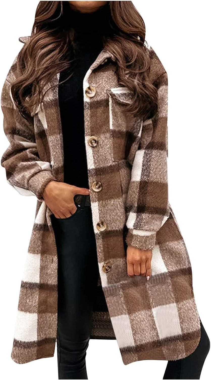 Womens Fall Clothes Loose Check Button Coat Casual Lapel Long Sleeve Cardigan Jacket Slim Fit Overcoat Elegant Coat