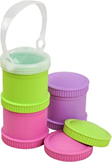 Re-Play Made in The USA 3pk Stackable Snack Cups for Baby and Toddler - Bright Pink, Green, Purple (Butterfly)