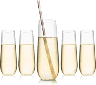 Decore Collection - 48 Pack Stemless Plastic Champagne Flutes 9oz with 50 Straws included, Premium Quality, Crystal Clear, Shatterproof, Wedding Toasting Glasses, Disposable, Recyclable, BPA-Free