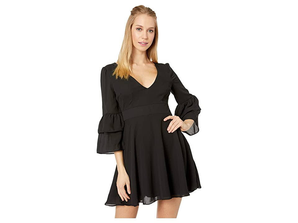 BB Dakota Always Classy Ruffle Sleeve Dress (Black) Women