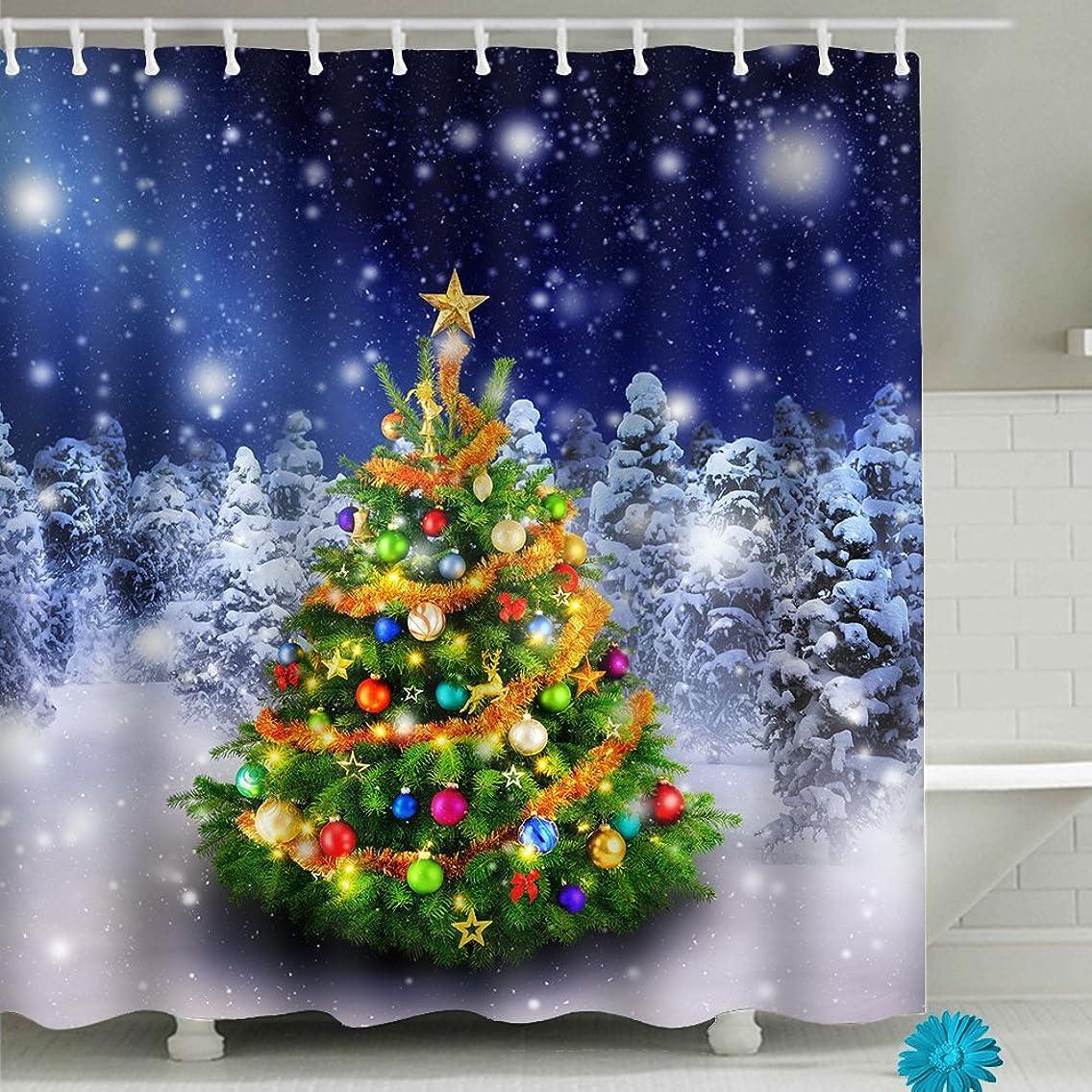 "FAITOVE Merry Christmas Tree Bathroom Shower Curtain Sets Waterproof Decor 59"" x 71"" Polyester Fabric"