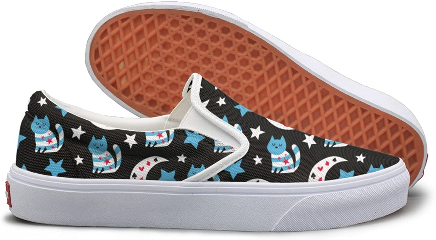 SEERTED Sleeping Cat and Stars Casual Sneakers for Women Slip On