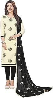 CRAFTSTRIBE Slub Cotton Thread Work Navy Blue Color Indian Pakistani Unstiched Dress Material Salwar Kameez for Women