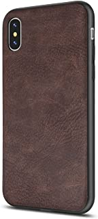 iPhone X Case/iPhone Xs Case Salawat Slim Shock Proof Phone Cover Lightweight Premium PU Leather TPU Bumper PC Protection for iPhone X iPhone Xs 5.8inch(Darkbrown)