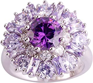 Psiroy 925 Sterling Silver Created Amethyst Filled Cluster Flower Statement Ring