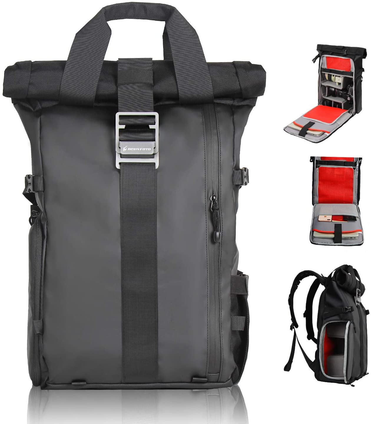 Besnfoto DSLR Camera Backpack Rolltop Laptop Compartment Quick Side Access Waterproof Camera Bag Professional for Hiking Traveling Women and Men Large