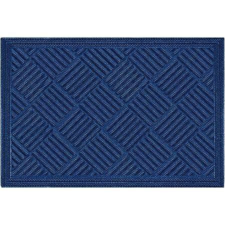 Mibao Durable Rubber Door Mat, Non Slip Durable Welcome Doormat, Indoor Outdoor Rug, Low-Profile Entrance Large Door Mat for Entry, Garage, Patio, Heavy Duty, Easy Clean,24 x 36, Blue