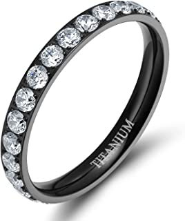 3mm Women Titanium Engagement Ring Cubic Zirconia Eternity Wedding Band Size 3 to 13.5