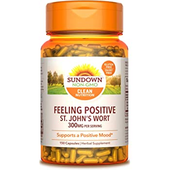 Sundown Standardized St. John's Wort Capsules 150 ea, Non-GMOˆ, Free of Gluten, Dairy, Artificial Flavors