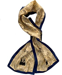 Women's Beige & Navy Blue 100% Silk William Shakespeare Oblong Fashion Scarf