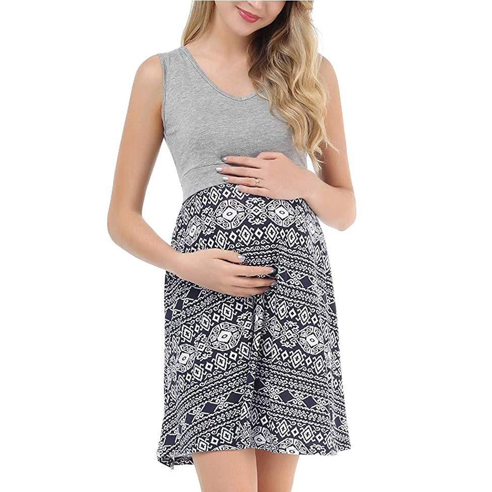 BYTWO Pregnant Women Vest Mini Dress Sleeveless V-Neck Print Patchwork Summer Casual Loose Maternity Nursing Sleepwear