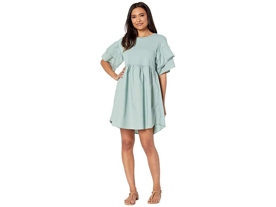 Bobeau Knit/Woven Babydoll Dress (Sage) Women