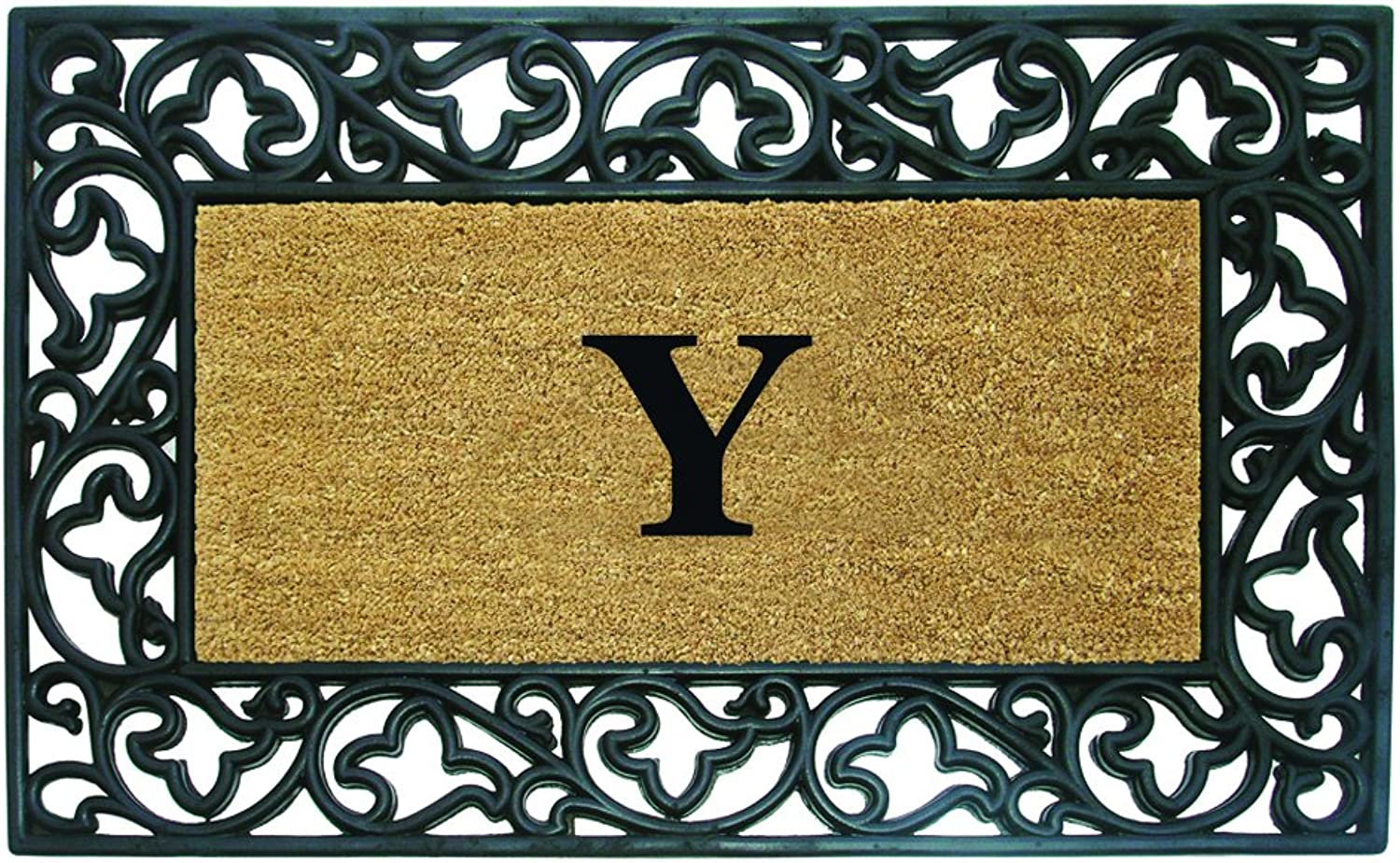 Nedia Home Acanthus Border with Rubber Coir Doormat, 30 by 48-Inch, Monogrammed Y
