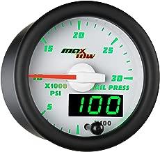 MaxTow Double Vision 30,000 PSI Fuel Rail Pressure Gauge - for 2002-2017 6.6L Chevy Duramax & 2003-2017 5.9L / 6.7L Dodge Cummins Diesel Trucks - White Gauge Face - Green LED Dial - 2-1/16